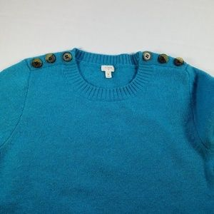 J. Crew turqouis sweater, Sz S.Buttons on shoulder
